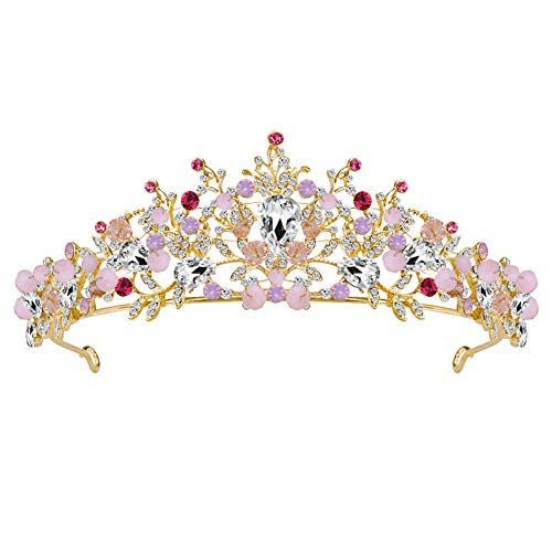 Fablcrew Strass Diadem Hohle gehobene Braut Krone Kopfschmuck Haarspange Krone Prinzessin Stirnband Haarspange Diadem Sehr schöne Glitzerkrone Das Diadem(Rot)