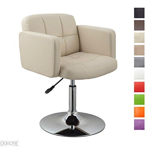 Duhome Elegant Lifestyle Clubsessel Sessel Kunstleder Creme Esszimmerstuhl Lounge Sessel...