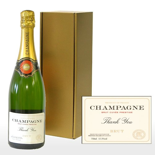 Fine Food Store Personalised Premium Fine Champagne in Gold Gift Box with 'Thank You' on the Label NV 75 cl