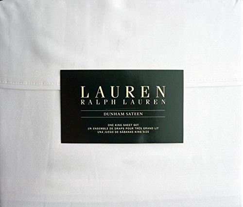 Lauren Ralph Lauren 4 Piece Dunham Sateen Cotton Sheet Set Solid White (King)