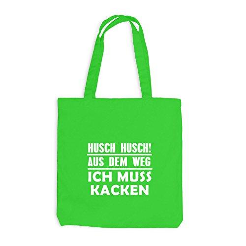 Jutebeutel - Aus dem Weg - ich muss Kacken - Festival Spaßmotiv Hellgrün