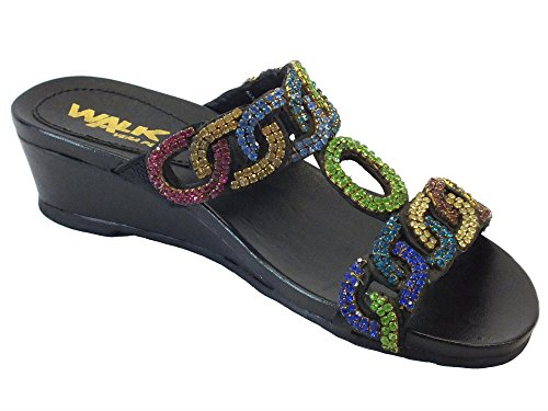Sandali Melluso Walk in pelle nera con strass multicolore Multi nero