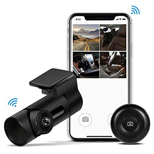 Yakola Y6 WiFi-Dashcam,Mini-AutoKamera mit Single 360° Fisheye Panorama Lens, 230°Weitwinkel, 1080P-HD, 24H Parküberwachung, Loop-Aufnahme, 300° Drehwinkel, Nachtsicht, IP68 Wasserdicht,G-Sensor, HDR