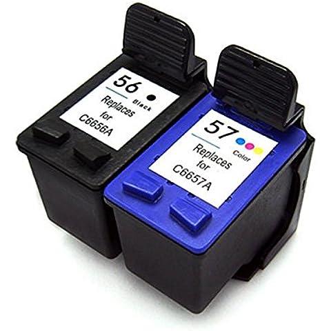 Cartuccia d'inchiostro Generico rigenerata in sostituzione di HP 56 HP 57 (1x Nero, 1x Farbe, (Rigenerata Sostituzione)