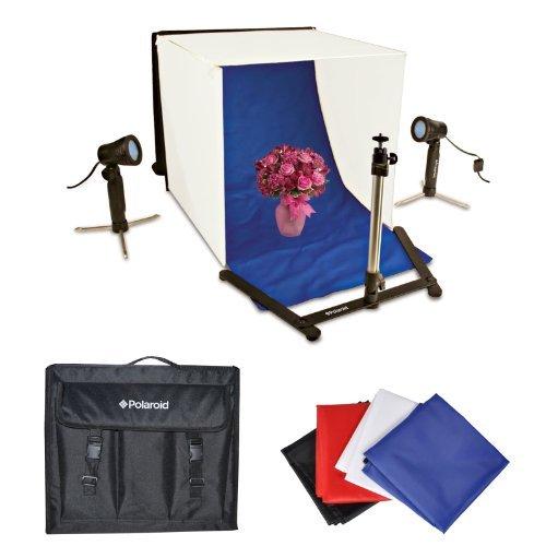 Polaroid Tisch Top Tragbarer Foto Studio Lichtzelt Set, beinhaltet 1Zelt, 2Lichter, 1Stativ, 1Tragetasche Hülle, 4Hintergründen...