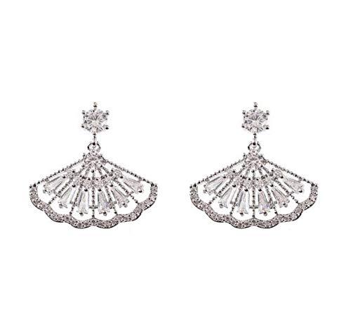 HLII Frauen Ohrringe Zirkon Silber 925 Nadel- Crystal Elegant Lüfter Schmuck Ohrringe - Bronze-lüfter