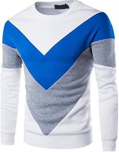 jeansian Uomo Moda Colori Misti Felpa Pullover Maglietta Felpe Sweater Shirts 88F2 White