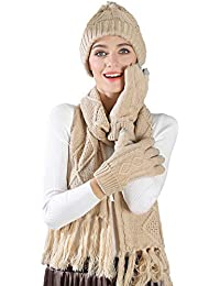 c378b36f2294da Chloria knitted hat, scarf and glove set women men girls unisex cable knit  hat thick scarf glove hat set winter…
