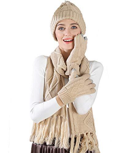 Stricken Mütze Schal Handschuhe Set-Frauen Männer Unisex Zopfmuster Winter kaltes Wetter Geschenkset (Beige) (Mützen Stricken Frauen Für Große)