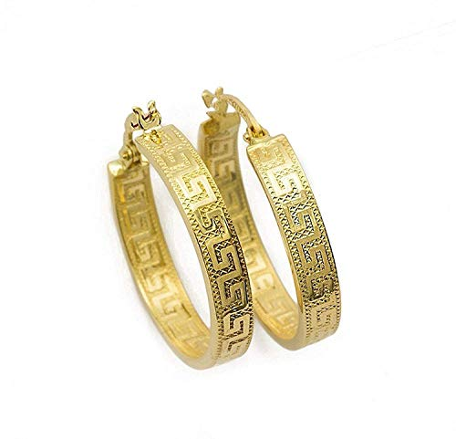 Kleine Griechische Schlüssel Ohrringe Creolen Gelbgold Aus 18 Karat / 750 Gold Diamantiert (3 x 14 Ø mm) - PRI37A