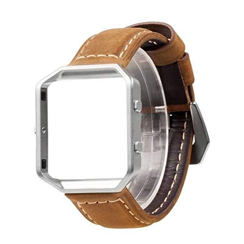Wearlizer Für Fitbit Blaze Armband mit Metallrahmen, Ersatz Uhrenarmband, Premium Lederarmband für Fitbit Blaze, L Braun