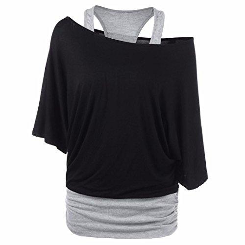 Kobay Mode Damen Beiläufig Skew Hals Zwei Ton Patchwork T-Shirt Oberteile Bluse(2XL,Schwarz)