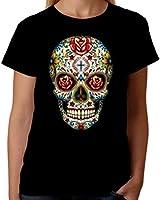Velocitee Ladies T-Shirt Sugar Tattoo Skull W16553