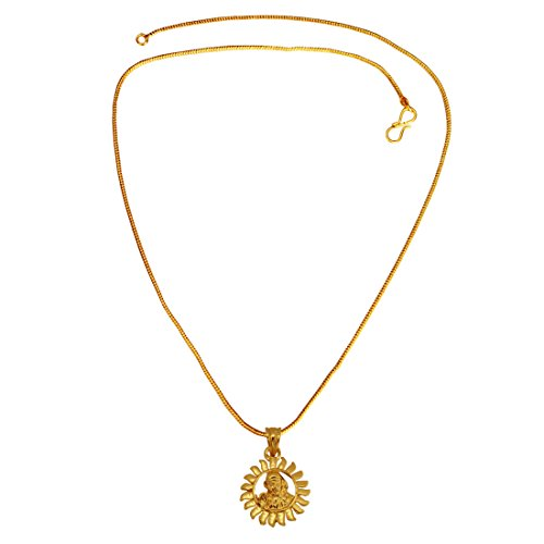 Menjewell Spiritual Collection Gold Plated Sai Baba Sun Design Mini Pendant with Chain for Men & Boys  available at amazon for Rs.191