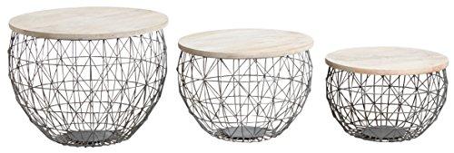 AUBRY GASPARD MTB137S Tables basses en métal gris et bois patinés