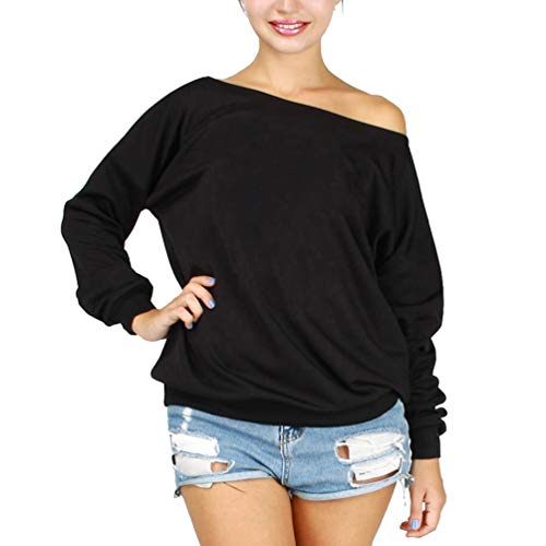 Langarm-plus Size Pullover (Reciy Damen Langarm Schulterfrei Jumper Sweatshirt Lose Pullover Bluse Plus Size Tops XXL Black)