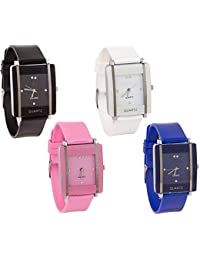 Maan International Glory Stylish Dial Multicolour Analogue Combo-4 Designer Latest Watches For Woman And Girls