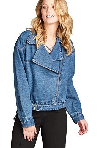 Khanomak Damen Jeansjacke mit Asymmetrischem Reißverschluss - blau - Klein Junior Fashion Denim Jacke