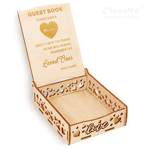 Si quieres una caja de carteles de invitados única para guardar los tableros de mensaje en forma de corazón para el libro de invitados de boda. ¡Estás en el lugar correcto! Creawoo - Caja de madera con un diseño contemporáneo de madera para invitados...