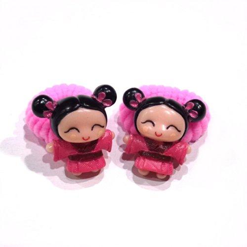 rougecaramel - Accessoires cheveux - Elastique/mousse enfant poupe 2pcs - rose