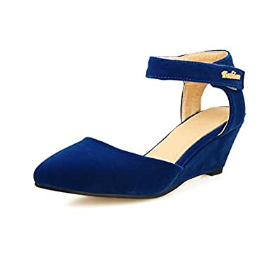 VogueZone009 Women's Pointed Closed Toe Imitated Suede Solid Kitten Heels Pumps Shoes, Blue, 34