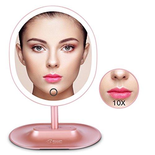 BESTOPE LED Schminkspiegel mit 1X / 10X Vergrößerung, Natürliche beleuchtete Kosmetikspiegel...