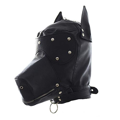 PU Leder Full Face Cover Breathable Blindfold Mask Zip Open Mouth Dog Head Cosplay Kostüm Sexy Suit Headgear Adult - Toxic Maske Kostüm
