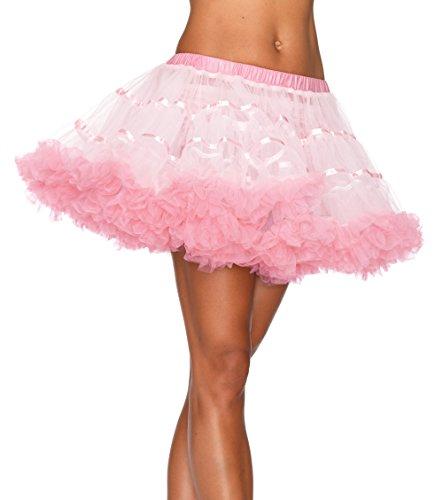 Avenue Kostüm Satin - Leg Avenue A1711 - Überlagerte Satin Tüll Petticoat, Einheitsgröße (Weiß / Hellrosa)