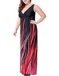 GAMISS Mujer Vestido de Playa Fiesta con Cuello V sin Mangas Tallas Grande L-6XL