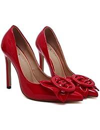 Bomba 11cm Scarpin dedo punta Bowknot zapatos de tacón alto de la boda zapatos de vestir Mujeres Charol patente de cuero puro ol zapatos de corte de la UE Tamaño 34-43 ( Color : Red , Size : 39 )