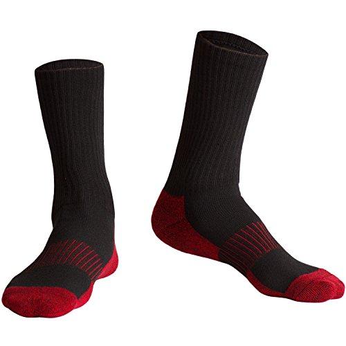 Jugend-rot-baseball-socken (Fracer Damen ganzjährig Running Kissen Crew Socken Medium schwarz/rot)
