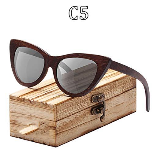 DAIYSNAFDN Holz Sonnenbrille Frauen Bambus Rahmen Brillen Polarisierte Gläser Brille Vintage Design C5