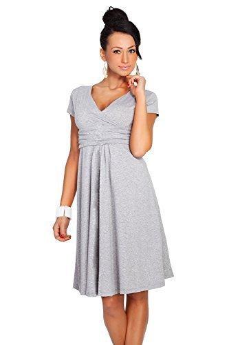 Futuro Fashion Femmes Elegant à manches courtes col V Genou Longueur Robe Viscose Avec Coton 8416 Cendre