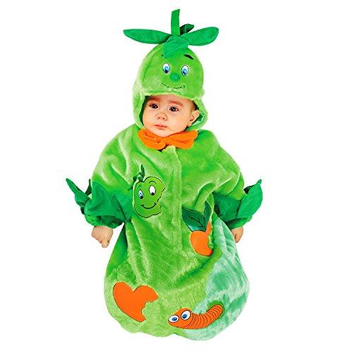 Veneziano Babykostüm Babysack Früchtchen für 0-3 Monate Apfel Baby Sack grün Obst Kleine Raupe