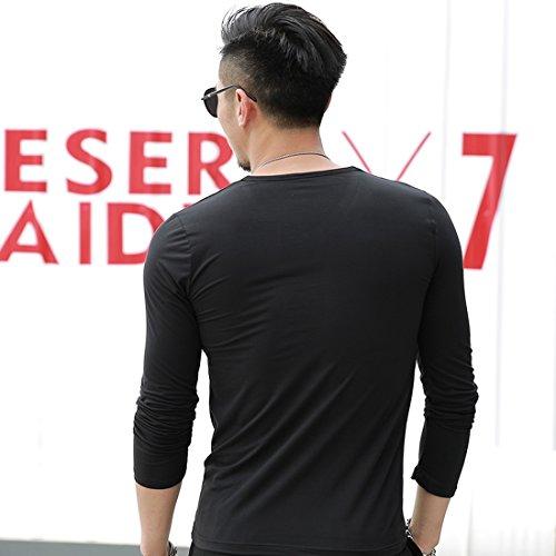 Vertvie Herren Basic Langarmshirt einfarbig slim fit mit V ausschnitt Freizeitshirt in verschiedenen Farben Schwarz