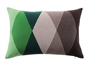 Lettres Majuscules en tricot Coussin ROMBO, vert/marron, 60x 40cm