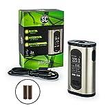 SC Eleaf Invoke Akkuträger 220 Watt + 2 x 3000mAh Akku Box Mod Set E-Zigarette (nikotinfrei) (edelstahl)