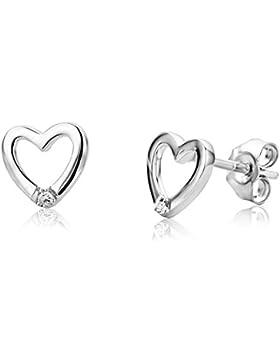 Miore Damen-Ohrstecker 925 Sterling Silber Herzen mit Brillant
