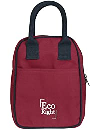 2ee355d70c553 EcoRight Cotton EcoFriendly Canvas Reusable Maroon Lunch Tote Bag with  Zipper (Medium Size