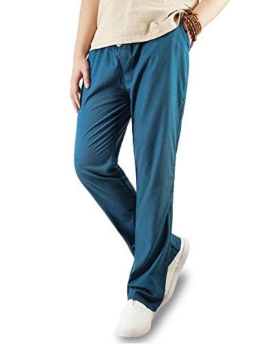 TaiPove Largos pantalones casuales de lino para hombre, con bolsillos y cintura con cordón