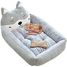 Cama de Perrera Dibujos Animados Almohada Rectángulo para Mascotas Cómodo Mascota Gato y Perro Cama Gris