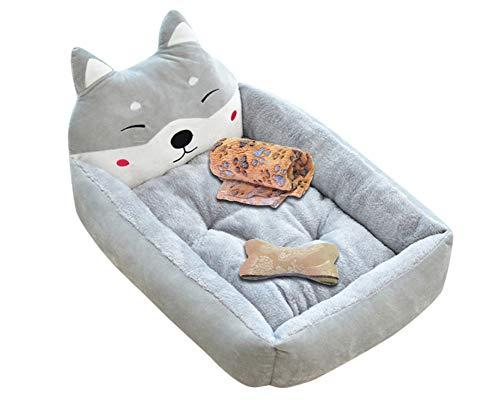 Letto per cani lavabile con cuscini cuscino del fumetto rettangolare super soft per cani di media e piccola taglia grigio set s