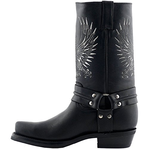 Grinders Mens 283 Bald Eagle Leather Boots Schwarz
