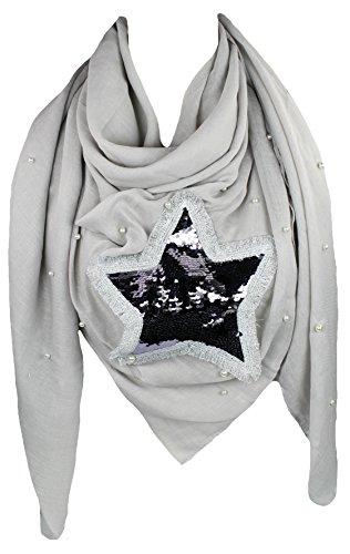 Mevina Damen XXL Schal Stern Pailletten Patch mit Perlen groß Dreieck quadratisch Tuch Schal Halstuch Oversized Grau T2493