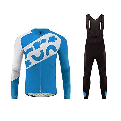 Uglyfrog Bike Wear Radtrikot Fahrradbekleidung Set Langarm Winddicht Herren Thermische Fleece mit 3D Polster Hosen Anzüge