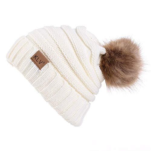 Rovinci Hommes Femmes Couleur Unie Bouffant Top Balle Molle Chapeau Hiver Chaud Crochet La Laine Bonnet de Ski Tricoté Slouchy Caps (Blanc)