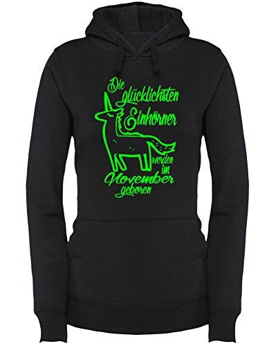 Die Glücklichsten Einhörner werden im November geboren! Perfektes Geschenk zum Geburtstag - Damen Hoodie Schwarz/Neongruen