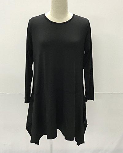 Donna Vestito Plus Size Tinta Unita Manica Lunga Orlo Irregolare Corto Vestiti Grande Swing Vestito Nero