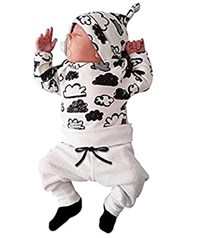 Ibelive 3 stück infant baby boy wolke drucken t-shirt tops + hosen + hut outfits kleidung set (80 (3-6 Months))