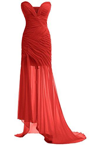 Gorgeous Bride Fashion Herz-Ausschnitt Hi-Lo Chiffon Abendkleid Festkleid Ballkleid Rot